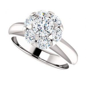 Briliantový prsteň Flora zo 14k bieleho zlata