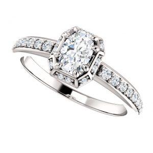 Briliantový prsteň Freya zo 14k bieleho zlata oval