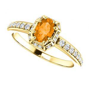 Briliantový prsteň Freya zo 14k bieleho zlata s granátom
