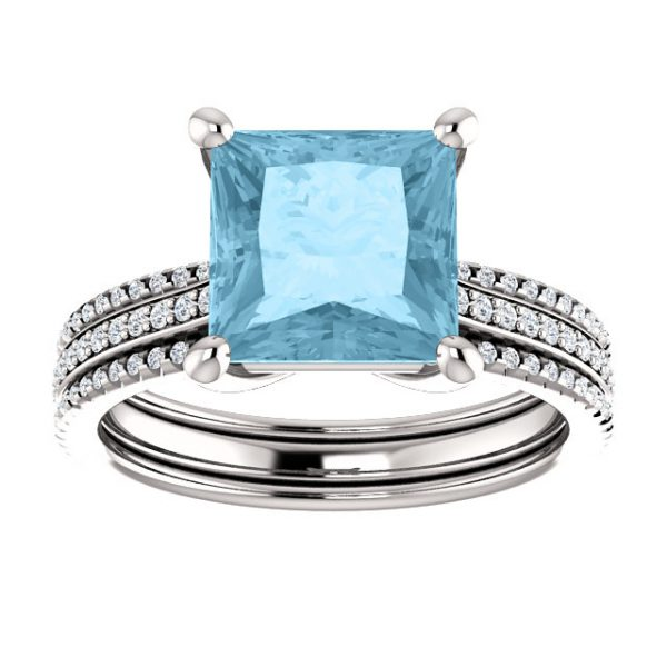Briliantový prsteň Isabeau zo 14k bieleho zlata s akvamarínom 8x8