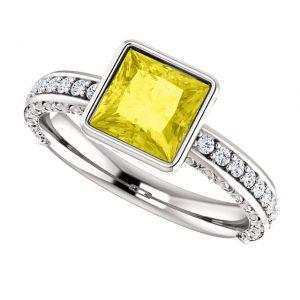 Briliantový prsteň Isla zo 14k bieleho zlata so žltým zafírom