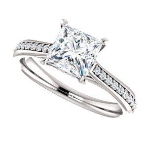 Briliantový prsteň Maeve zo 14k bieleho zlata princess