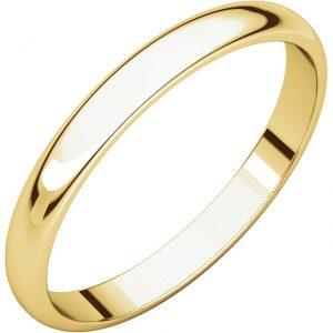 Polguľatá ľahká svadobná obrúčka zo 14 žltého zlata 2,5mm