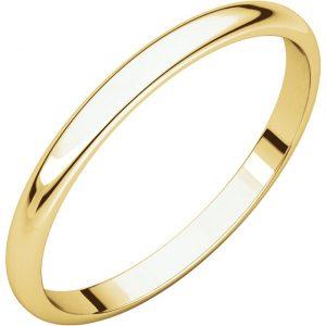 Polguľatá ľahká svadobná obrúčka zo 14 žltého zlata 2mm