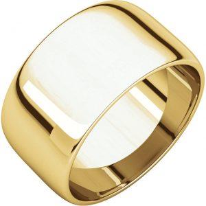 Polguľatá ľahká svadobná obrúčka zo 14k žltého zlata 10mm