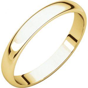 Polguľatá ľahká svadobná obrúčka zo 14k žltého zlata 3mm