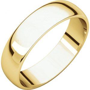 Polguľatá ľahká svadobná obrúčka zo 14k žltého zlata 5mm