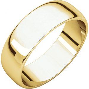 Polguľatá ľahká svadobná obrúčka zo 14k žltého zlata 6mm