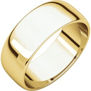 Polguľatá ľahká svadobná obrúčka zo 14k žltého zlata 7mm