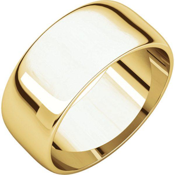 Polguľatá ľahká svadobná obrúčka zo 14k žltého zlata 8mm