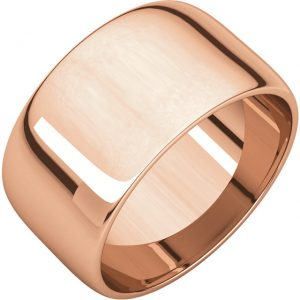Polguľatá ľahká svadobná obrúčka zo 14k ružového zlata 10mm