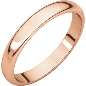 Polguľatá ľahká svadobná obrúčka zo 14k ružového zlata 4mm