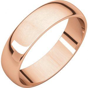 Polguľatá ľahká svadobná obrúčka zo 14k ružového zlata 5mm