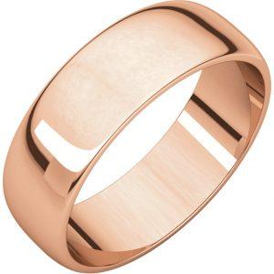 Polguľatá ľahká svadobná obrúčka zo 14k ružového zlata 6mm