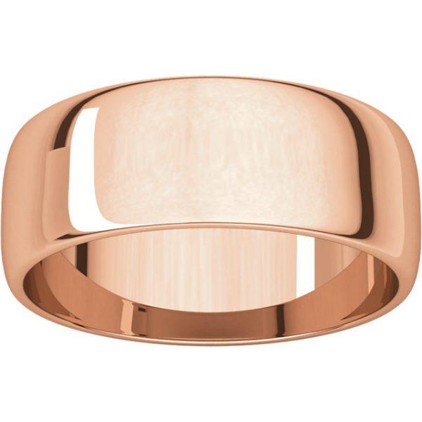 Polguľatá ľahká svadobná obrúčka zo 14k ružového zlata 7mm